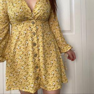 ASOS Yellow Ditsy Floral Mini Dress